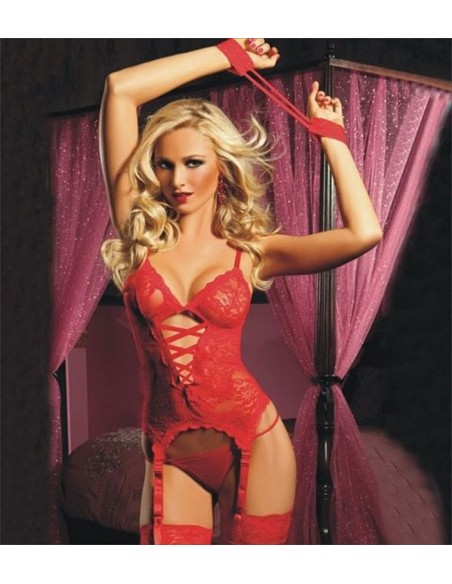 Babydoll Guepiere Rosso Pizzo Sexy Lingerie Reggicalze Manette 40 42 44 No Body