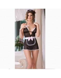 Sexy Lingerie Travestimento Sexy Cameriera Nero Vestito Costume