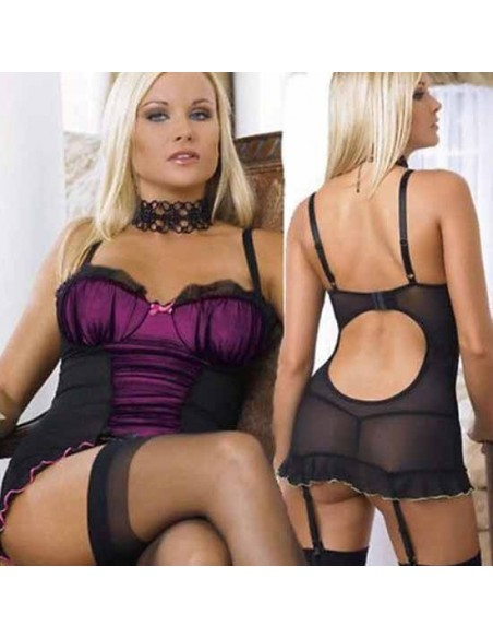 Sexy Lingerie Babydoll ChemiseTulle Nero Intimo Donna Baby