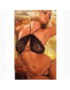 Sexy Lingerie Completino Intimo Donna Nero Coppe In Pizzo Body Perizoma