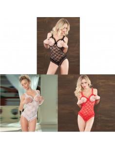 Sexy Body Lingerie Nero Bianco Rosso In Pizzo Coppe Aperte Intimo Donna Teddy