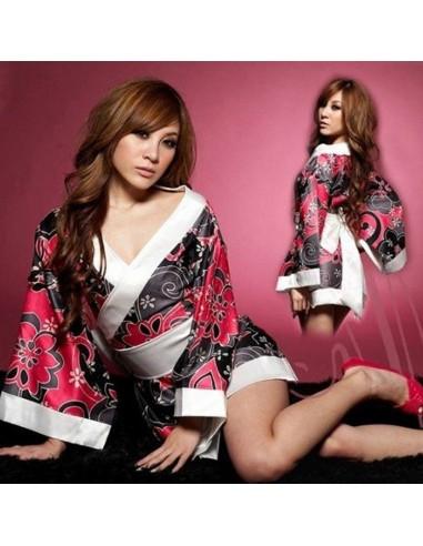 Sexy Lingerie Kimono Geisha Vestaglia Raso Fiori Rosso Fantasia Floreale Casacca