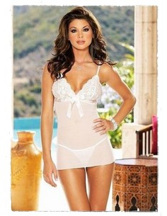 Sexy Baby Doll Bianco Pizzo Lingerie Intimo Sposa Babydoll Fiocchetto Raso