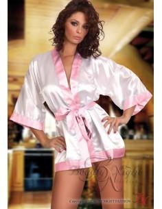 Beauty Night Sexy Lngerie Vestaglia Raso Bianca Intimo Rifiniture Rosa Babydoll