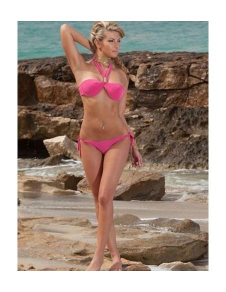 Sexy Costume Da Bagno Donna Bikini Fucsia E Viola Mare Due Pezzi Fascia Monokini