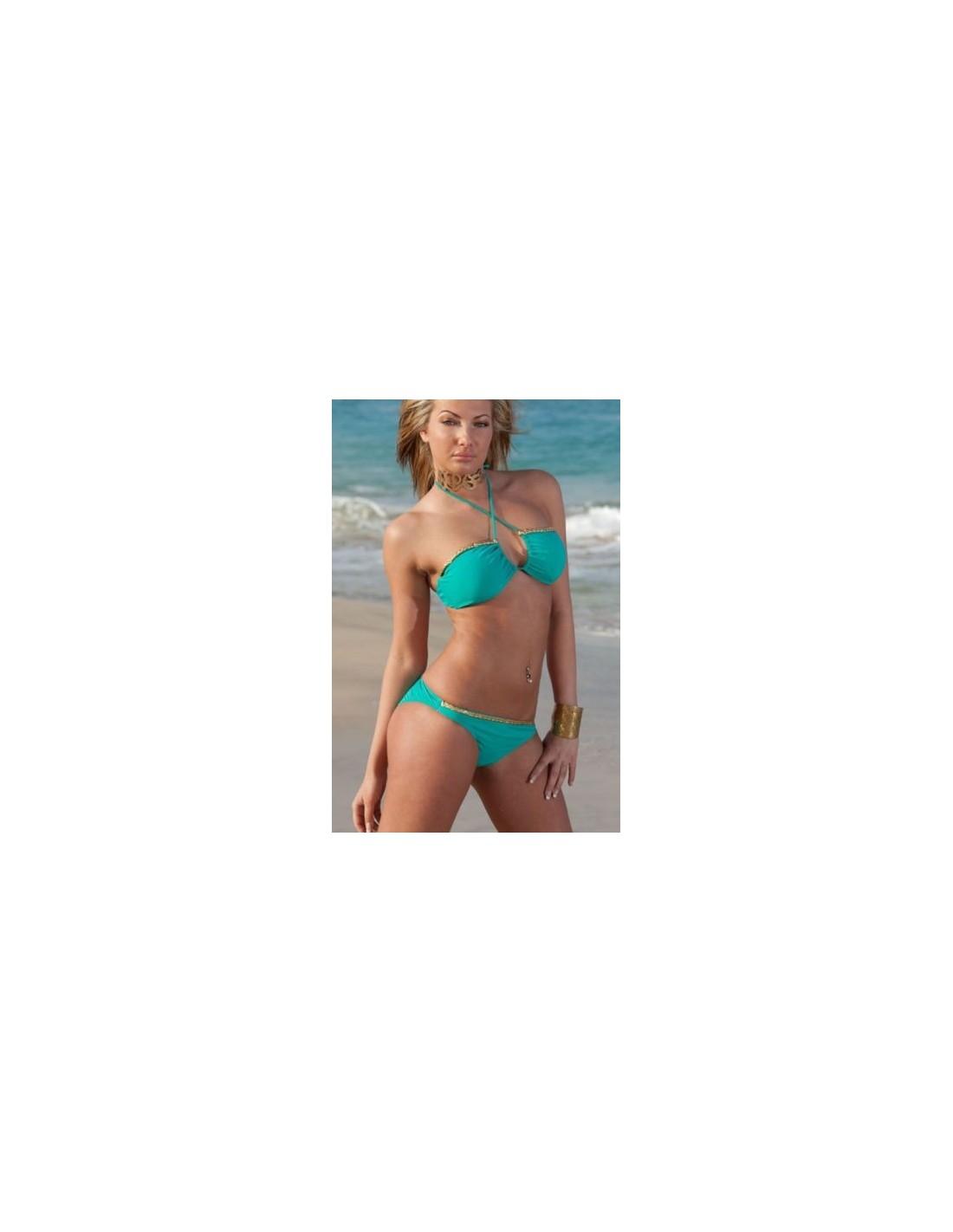 Favoloso Costume Da Bagno Donna Bikini Turchese Mare Due Pezzi Fascia No  CO39