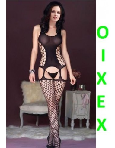 Sexy Lingerie Intimo Donna Bodystocking Nero Collant Catsuit Body C String No Calze