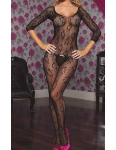 Intimo Donna Bodystocking Sexy Lingerie Nero Rete Collant Catsuit Body