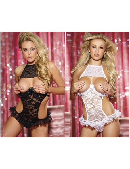 Sexy Body Lingerie Teddy Nero E Bianco In Pizzo Coppe Nude Intimo Donna Rouche