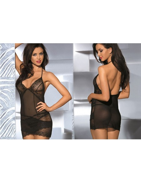 Babydoll Lingerie Sexy Tulle E Pizzo Nero Intimo Donna Sottoveste Chemise Doll