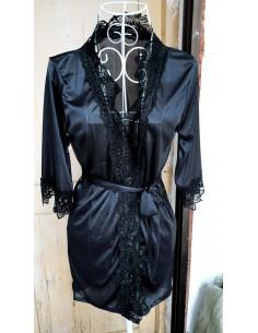 Sexy Vestaglia Nera Kimono Intimo Donna Lingerie Tessuto Effetto Raso E Pizzo