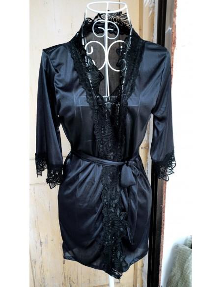 Sexy Vestaglia Nera Kimono Intimo Donna Lingerie