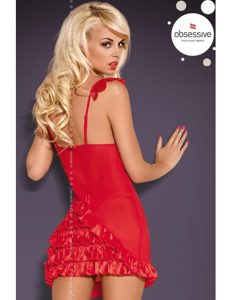 Sexy Lingerie Obsessive Babydoll Chemise Rosso Tulle Sottoveste Electra