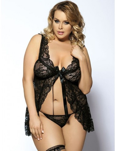 Sexy Lingerie Babydoll Nero Pizzo Taglie Forti Comode Curvy Chemise Intimo