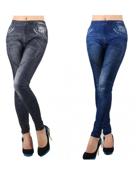 Sexy Leggings Nero e Blu Effetto Jeans Fuseaux Pantacollant Discoteca Party Hot