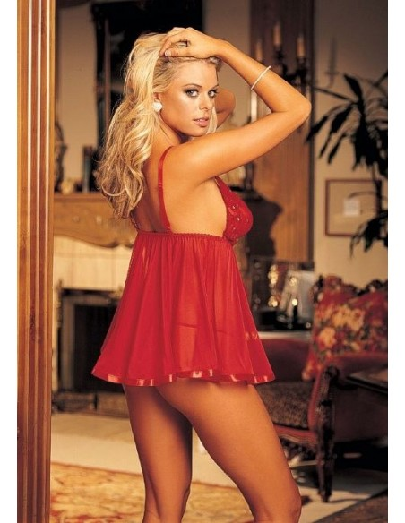 Babydoll Taglie Forti Curvy Comode Sexy Pizzo Rosso Lingerie Intimo Donna Tg. XL