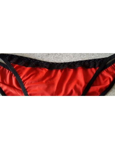 Sexy Costume Da Bagno Donna Bikini Rosso Più Inserti In Pizzo Nero A Triangolo
