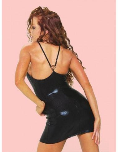 Mini Abito Nero Vestito Corto Effetto Pelle Lucido Sexy Party Discoteca Hot