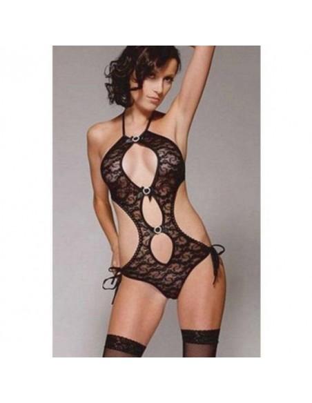 Sexy Lingerie Body Teddy Nero Pizzo Inserti Argentati No Babydoll