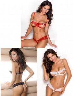 Intimo Due Pezzi Rosso Bianco E Nero Sexy Sexy Lingerie Coppe Aperte Donna Body