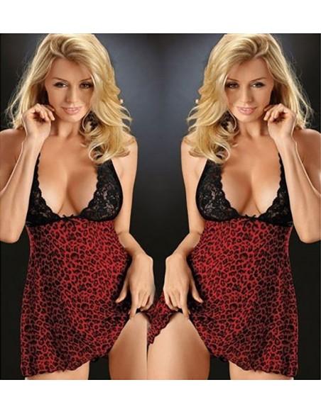 Sexy Intimo Donna Babydoll Chemise Sottoveste Leopardato Rosso e Nero Lingerie