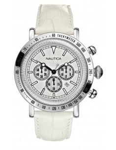 Orologio Uomo Cronografo NAUTICA A20070G Con Cinturino In Pelle Bianco