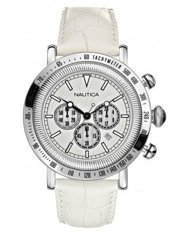 Orologio Uomo NAUTICA A20070G Cronografo con Cinturino in Pelle Bianco