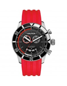 Orologio Uomo NAUTICA A17584G Cassa Acciaio Cinturino in Gomma Rosso