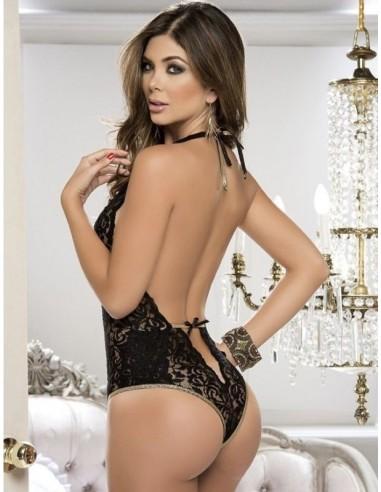 Sexy Body Teddy Pizzo Nero Con Mascherina Lingerie Intimo Donna Scollatura Hot