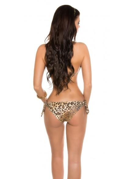 Sexy Costume Da Bagno Bikini Leopardato Inserti Metallici Dorati In Stylefashion