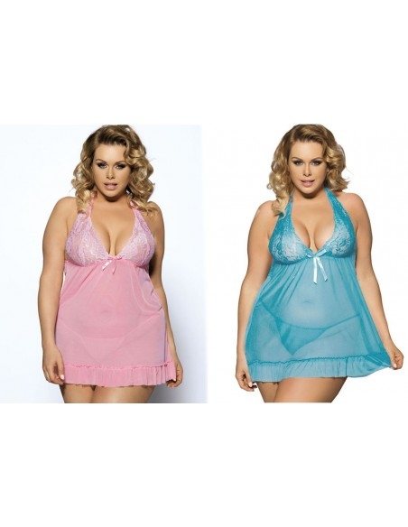 Taglie Forti Curvy Comode Sexy Lingerie Babydoll Rosa o Azzurro Chemise Intimo