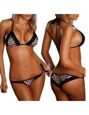 Sexy Intimo Costume Da Bagno Donna Bikini Leopardato Pizzo Brasiliana Lingerie