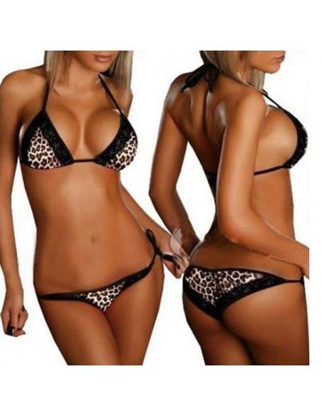 Costume Da Bagno Donna Bikini Leopardato Pizzo Brasiliana Sexy Intimo Due Pezzi