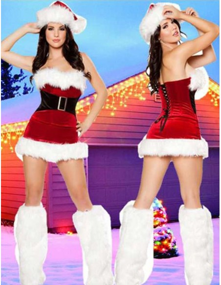 Travestimento Babba Babbo Natale Sexy Santa Claus Rosso Peluches Costume Donna