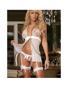 Babydoll Intimo Sposa Giarrettiere Coppe in Pizzo