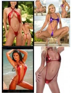 Sexy Lingerie Body Teddy Metallico Rosso Intimo Donna Hot Costume Da Bagno Lap