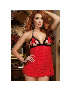Babydoll Rosso Coppe Aperte Sexy Lingerie Completino Intimo Chemise + Perizoma