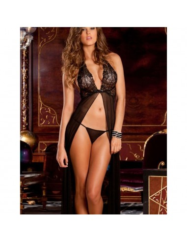 Sexy Babydoll Lungo Nero Tulle Coppe In Pizzo Hot Lingerie Chemise Intimo Donna