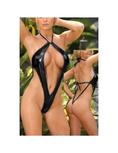 Costume body Nero Lucido Effetto Bagnato