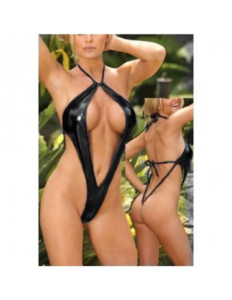 Costume Body Nero Lucido Tessuto wetlook effetto pelle