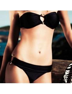 Sexy Bikini Nero Costume Da Bagno Donna A Fascia Con Anelli Metallici Mare