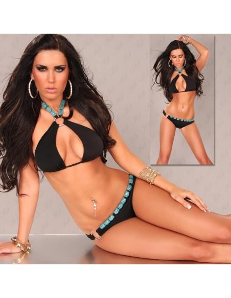 Sexy Bikini Costume da Bagno Nero Strass E Inserti Turchese Donna Mare Tg S M L