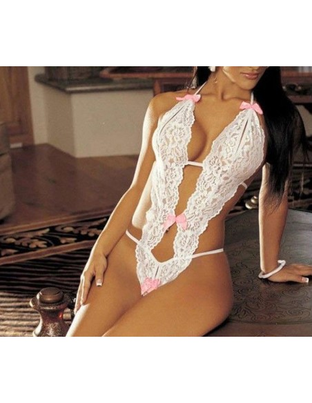 Body Teddy Pizzo Bianco Completino Intimo Donna