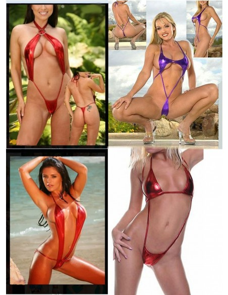 Costume Da Bagno Donna Wetlook Rosso Sexy Micro Hot Monokini Intero Lap Tg S-M