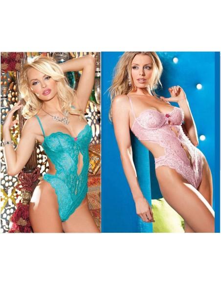 Body Teddy Sexy Lingerie Pizzo Azzurro E Rosa Completino Intimo Donna Tg S M