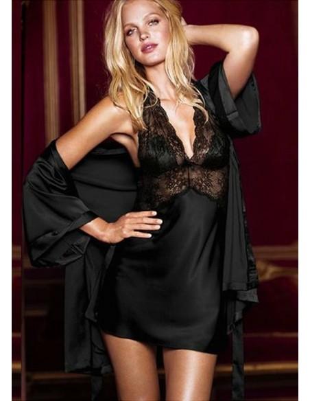 Vestaglia Sexy Lingerie Nera Kimono Intimo Tipo Raso Set E Inserti In Pizzo Slip