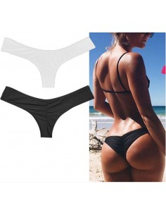Costume Da Bagno Donna Sexy Bikini Nero Solo Slip A Brasiliana Foderato
