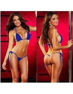 Costume da Bagno Blu Perizoma Bikini Donna Mare Brasiliana