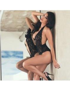 Sexy Body In Pizzo Nero Intimo Con Scollatura Vertiginosa