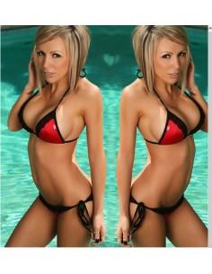 Bikini Rosso Con Inserti in Pizzo